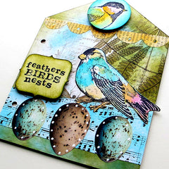 Little Bird rubber stamped art work