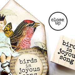 Birds in Joyous Song Wood Mount Rubber Stamp