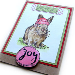 Santa Bunny rubber stamped Christmas Card