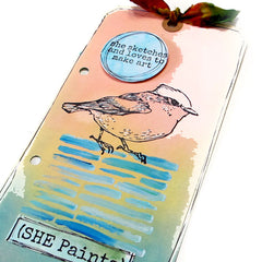 She Sketches and Loves to Make Art Bird Rubber Stamp