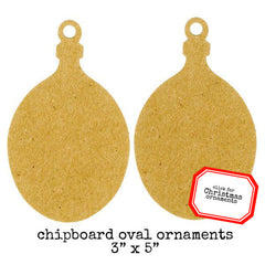 2 Chipboard Oval Christmas Ornaments Save 30%