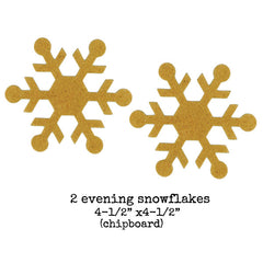 2 Chipboard Evening Snowflakes