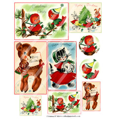 cute bird postcard Christmas collage sheet
