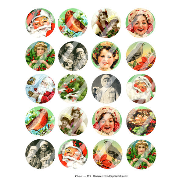 Christmas Collage Sheet with 20 Circles