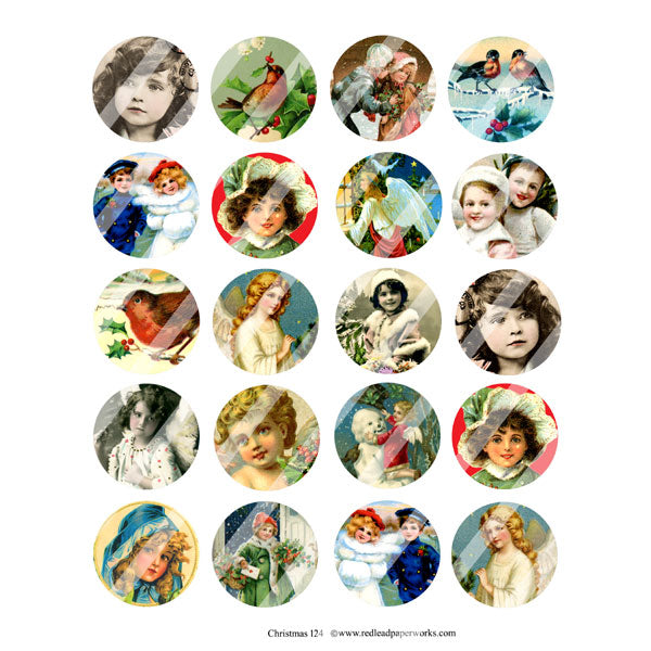 Vintage Christmas Circles Collage Sheet