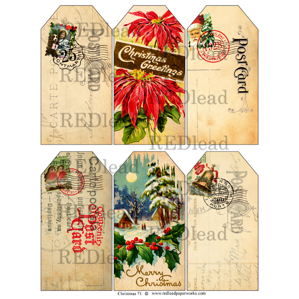 Christmas Collage Sheet Christmas 71 Tags