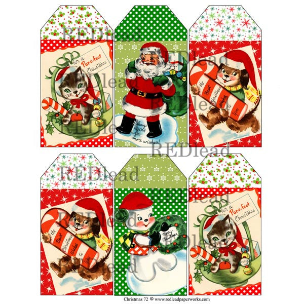 Christmas Collage Sheet - 72 Tags