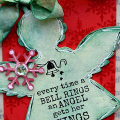 Christmas Rubber Stamp - Every Time a Bell Rings an Angel gets Her Wings - 3 cling mount rubber stamps