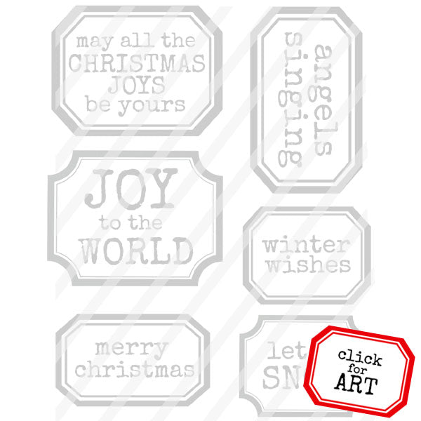 Christmas Labels Rubber Stamp Save 20%