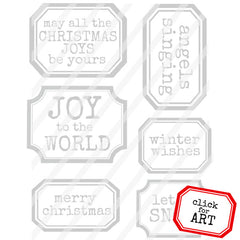 Christmas Labels Rubber Stamp