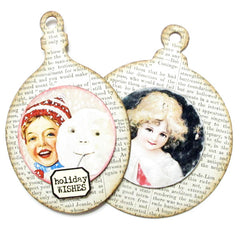 2 Chipboard Oval Christmas Ornaments
