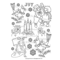 Christmas coloring page has birds, stockings, rag dolls.