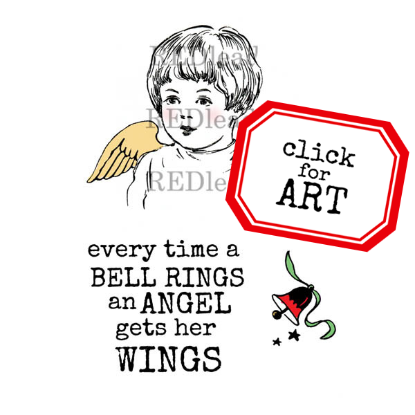 Every Time A Bell Rings An Angel Gets Her Wings Christmas Rubber Stamp