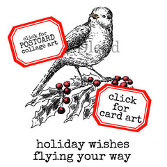 Christmas Bird with Holly Rubber Stamp