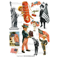 Vintage Elements Collage Sheet 159 - Patriotic