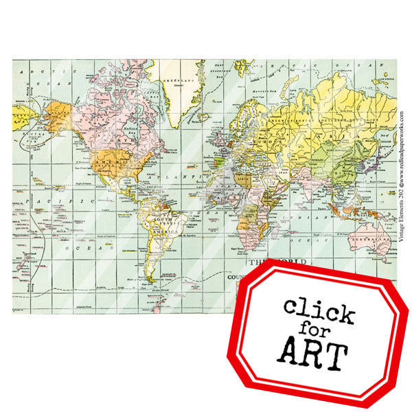 Vintage elements 202 world map collage sheet gumiabroncs Gallery