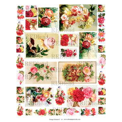 Collage Sheet Vintage Elements 9  - Roses