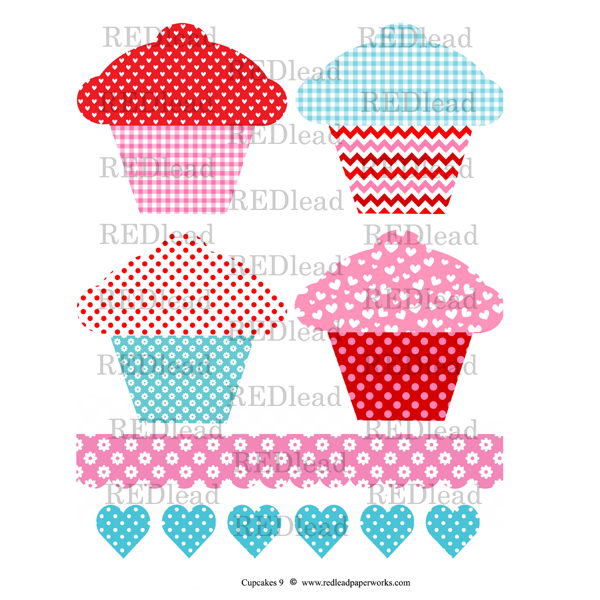 Cupcake Collage Sheet 9 - Valentine Cupcakes