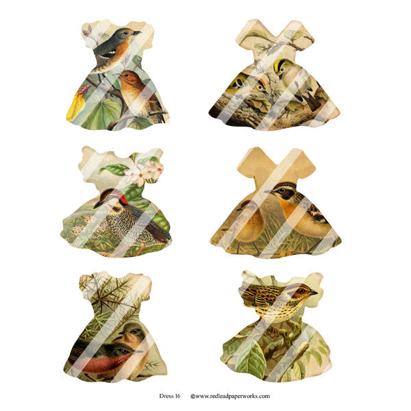 Forest Birds Dresses Collage Sheet 16
