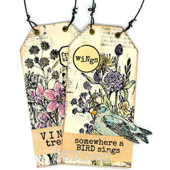 Somewhere A Bird Sings Wood Mounted Rubber Stamp