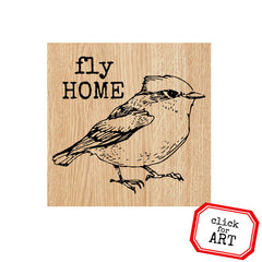 Fly Home Bird Wood Mount Rubber Stamp