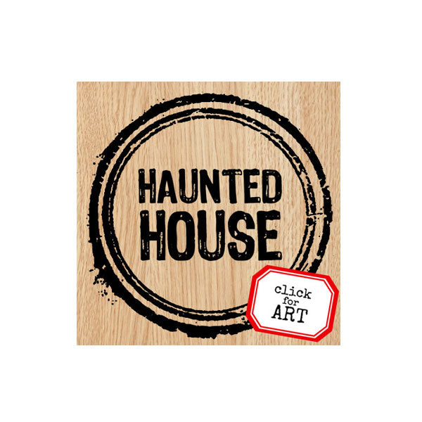 Haunted House Wood Mount Rubber Stamp