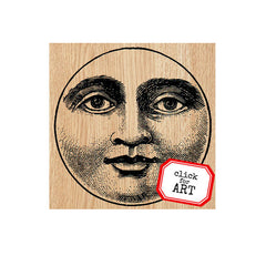 Mara Moon Face Wood Mount Rubber Stamp SOLD OUT!