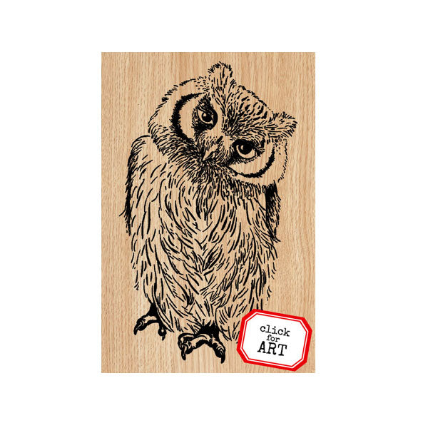 Oscar Owl Wood Mount Rubber Stamp