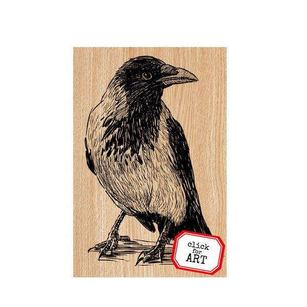Ruthie Raven Wood Mount Rubber Stamp