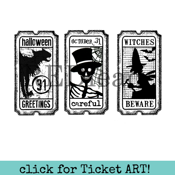 Halloween Rubber Stamp Tickets - Halloween Greetings - Careful - Witches Beware - Tickets