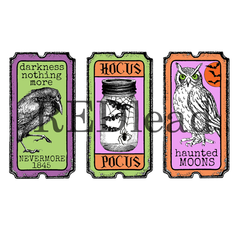 Halloween tickets cling mount rubber stamps