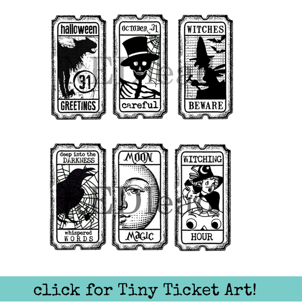 Halloween Tiny Tickets Rubber Stamp - Halloween Greetings  - Careful - Witches Beware - Darkness - Moon Magic - Witching Hour