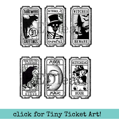Halloween Tiny Tickets Rubber Stamp Halloween Greetings Careful Witches Beware
