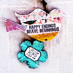 Happy Endings Brave Beginnings Rubber Stamp