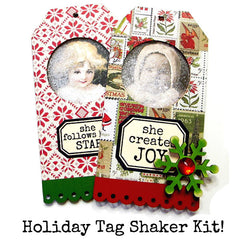 She Creates Joy Labels Rubber Stamp