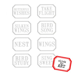 Rubber Stamp Little Labels Butterfly Wishes