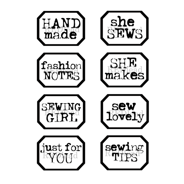 Rubber Stamp Little Labels - She Sews