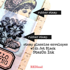 how to stamp glassine envelopes with Staz On ink
