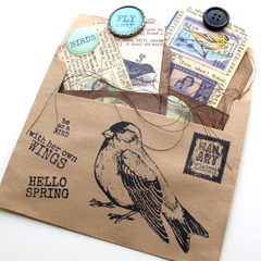 rubber stamped mail art with tags
