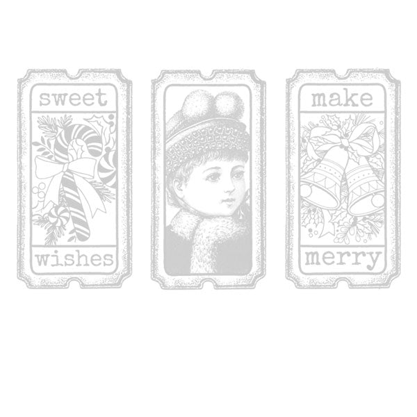 Sweet Wishes Make Merry Christmas Tickets Rubber Stamp