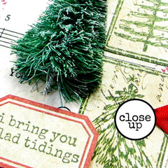 Close Up of Christmas Rubber Stamped Mixed Media Page