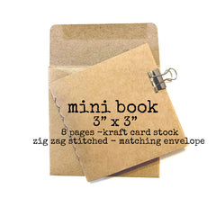 "Kraft Card Stock Mini Stitched Book 3"" x 3"""