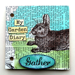 rabbit rubber stamped chipboard junk book page