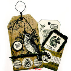 mixed media nature tag art