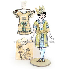 paper doll rubber stamp