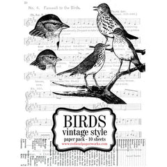 Bird Paper Pack Vintage Style Coloring Pages