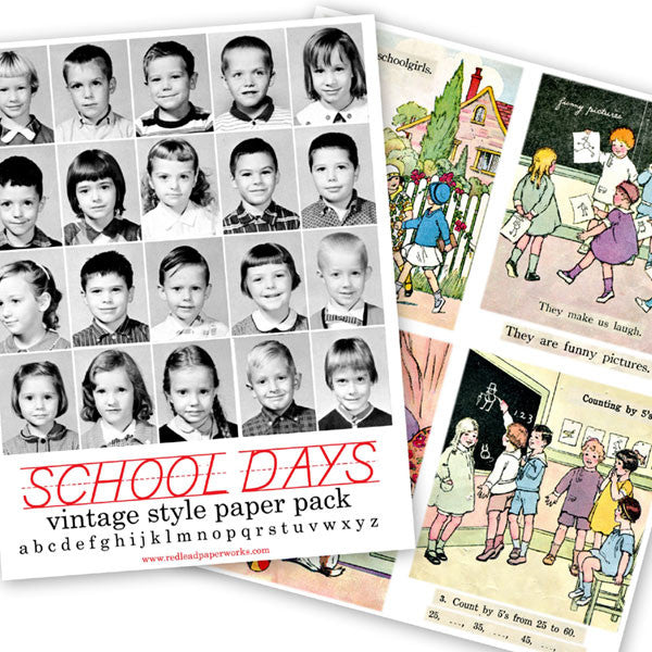 Vintage Style School Days Paper Pack