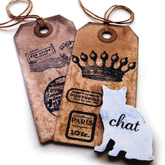 walnut ink vintage tag art