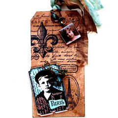 walnut ink rubber stamped tag