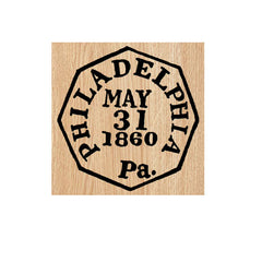 Philadelphia 1860 Postmark Wood Mount Rubber Stamp
